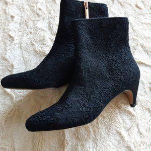 Nanette Lepore black boots / floral booties